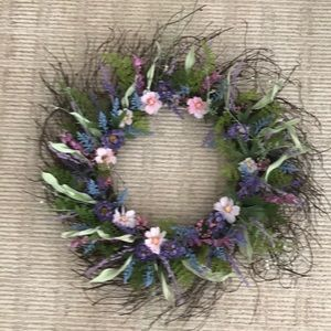 14 in wispy wreath with pink an purple flowers